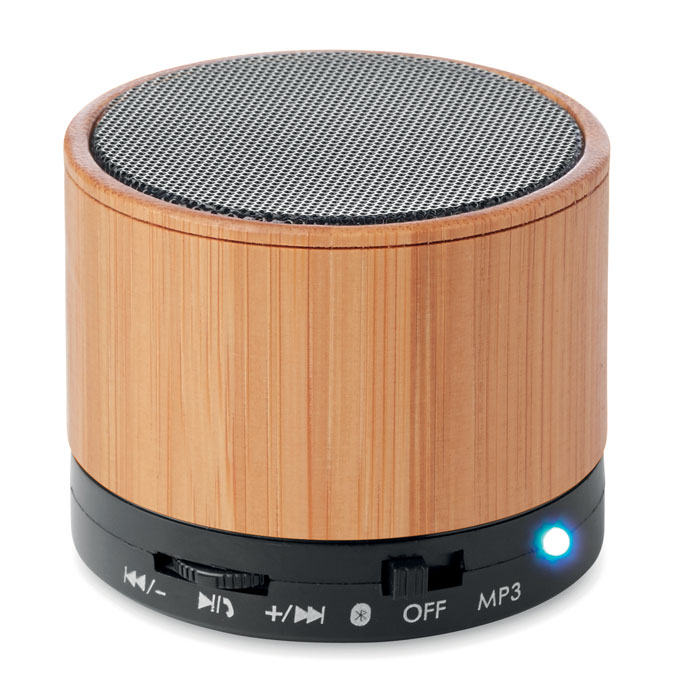 Altavoz bambú red. Bluetooth ROUND BAMBOO