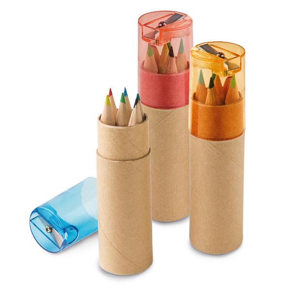 Boîte avec 6 crayons de couleur.