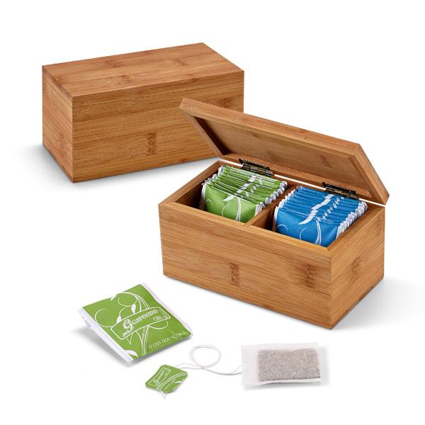 Caja de infusiones. Bambú. 2 compartimentos.
