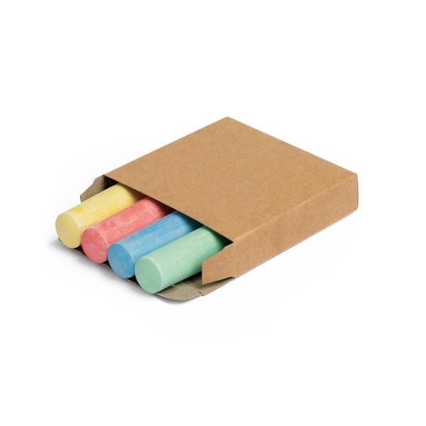 Caja con 4 barras de tiza.