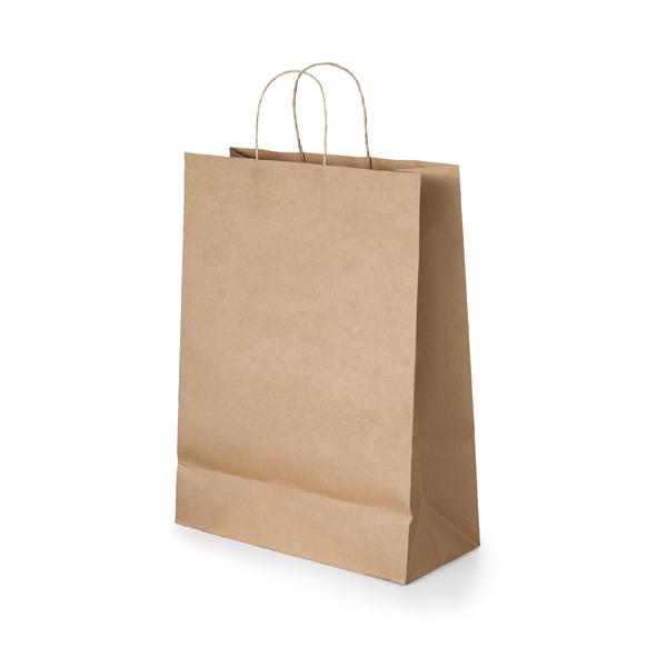 Bolsa. Papel craft: 115 g/m². Asa papel torcido. 180 x 240 x 80 mm