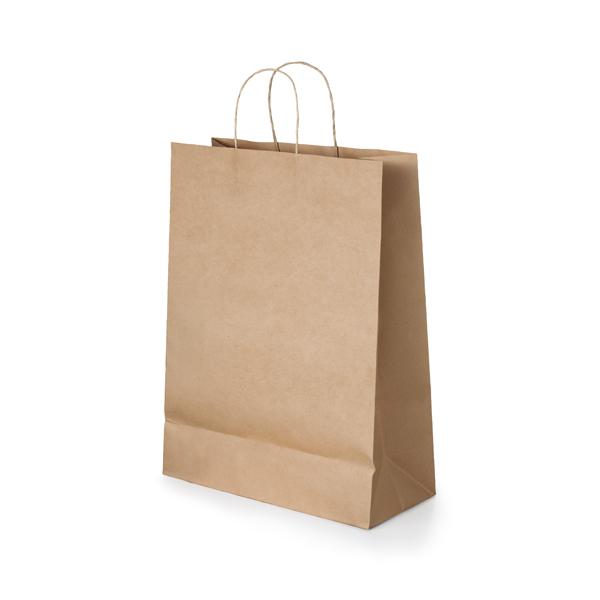 Bolsa. Papel craft: 115 g/m². Asa papel torcido. 320 x 390 x 110 mm