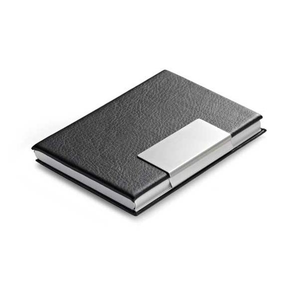 Porta-tarjetas. Aluminio y polipiel