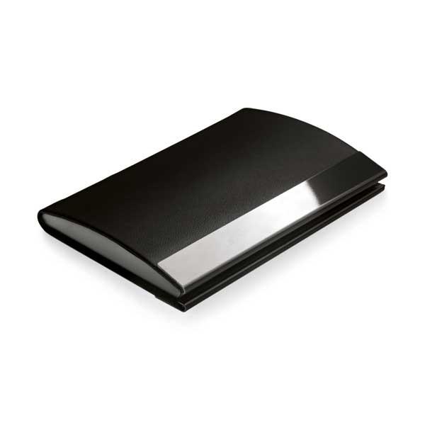 Porta-tarjetas. Metal espejo y polipiel
