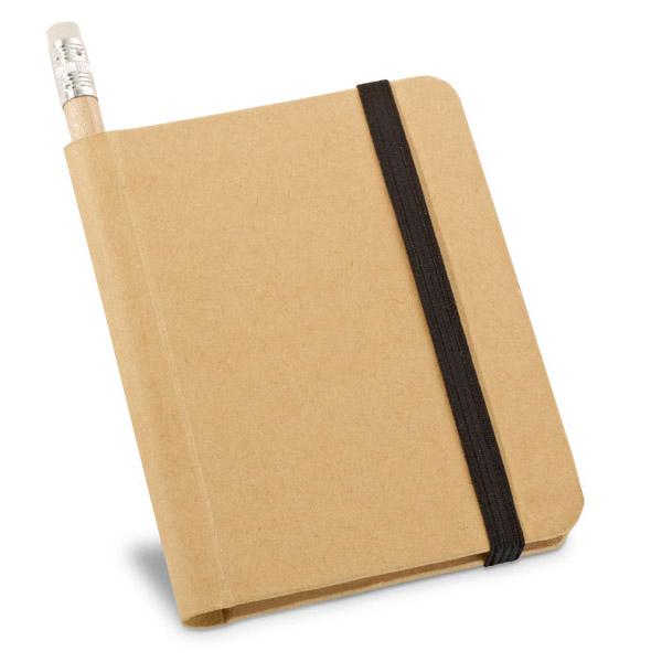 Bloc de notas. Cartón. Tapa rígida.Incluye lápiz.