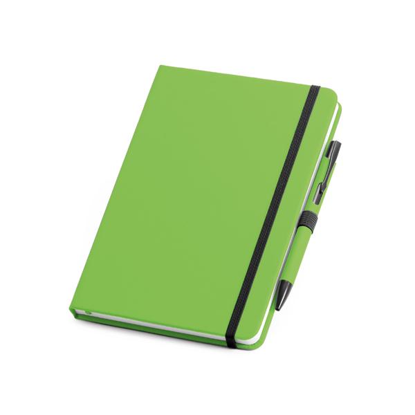Coffret stylo à bille et bloc-notes.