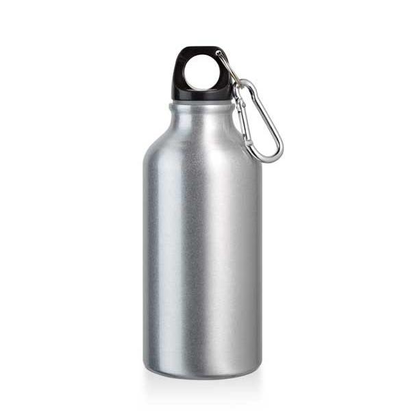 Botella de deporte. Aluminio. Con mosquetón. Capacidad: 400 ml.