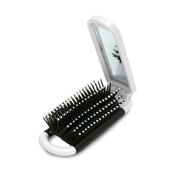 Espejo de maquillaje. Con cepillo plegable.