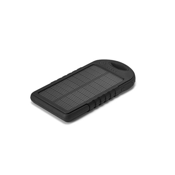 Batería portátil. ABS. Acabado de goma. Con panel solar y LED