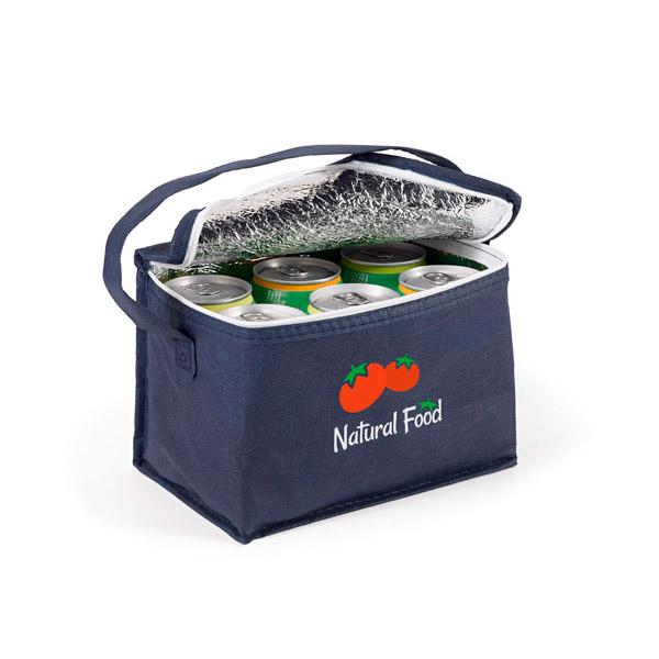 Bolsa nevera. Non-woven: 80 g/m². Capacidad: 6 latas de 0,33 L.