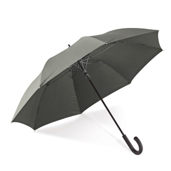 Paraguas.Estructura central y varillas en fibra de cristal y mango en PP.