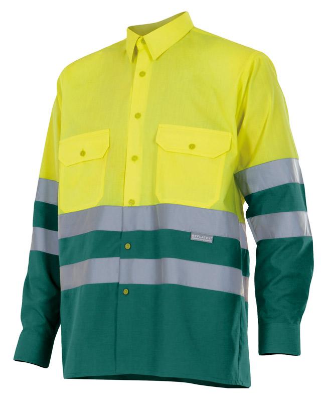 Camisa Alta Visibilidad Bicolor Manga Larga